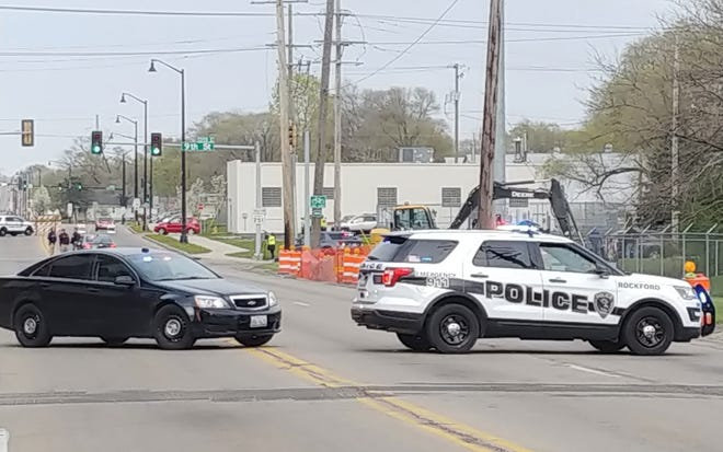 Rockford police investigate a serious crash about 5:30 p.m. Sunday, April 25,2021, near the intersection of Harrison Avenue and Ninth Street in Rockford.