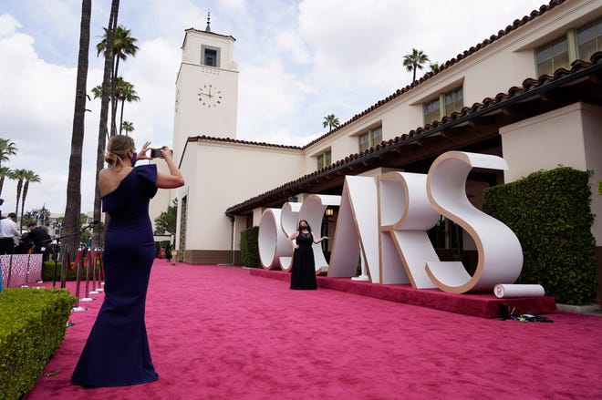 A view of the red carpet appears before the start of the Oscars on Sunday, April 25, 2021, at Union Station in Los Angeles.