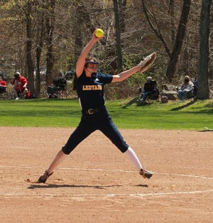Ledyard's Sara Rivers gets set to deliver a pitch during the Colonels sweep over Norwich Free Academy.