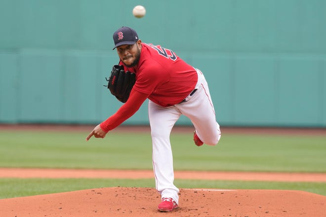 Boston Red Sox pitcher Eduardo Rodriguez delivers a pitch against the Seattle Mariners in the first inning Sunday in Boston.