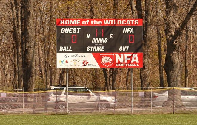 NFA vs Ledyard softball - dugout and scoreboard dedication