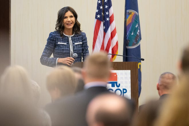 Kristi Noem, Republican governor of South Dakota, receives a standing ovation before giving the keynote speech at Saturday's Kansas GOP Convention in Manhattan.