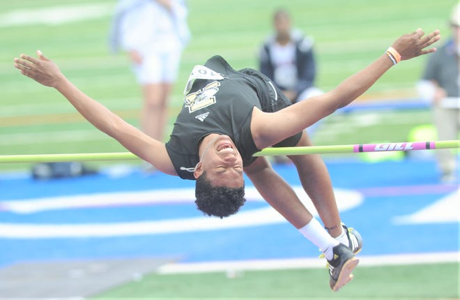 Abilene High's Jaryn Talmadge clears 6-foot-2 on his third and final attempt.