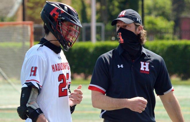 Haddonfield senior John McDonnell confers with coach Damon Legato