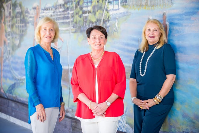 Marco Island Historical Society Endowment Campaign committee members Myrt Rose, Pat Rutledge and Committee Chairman Tish Champagne.