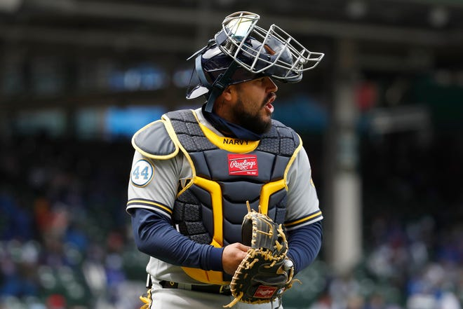 Brewers catcher Omar Narvaez was off to a strong start both offensively and defensively before suffering a strained left hamstring Friday night.