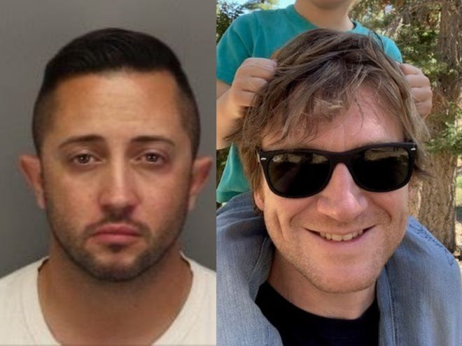 Fabian Herrera, left, is accused of fatally shooting David Spann, right, on Friday, April 23, 2021, in Palm Springs.