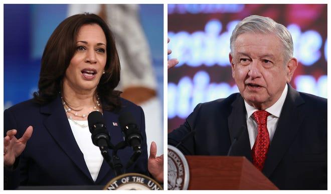 La vicepresidenta de EEUU Kamala Harris y el mandatario de México Andrés Manuel Lopez Obrador.