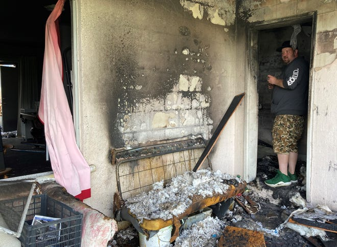Randy Eiffert said Sunday that a fire at the home he was living in was caused by a discarded torch lighter.