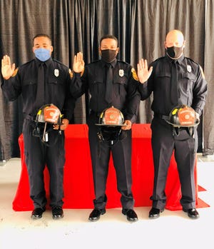 Pictured above, from left to right: Thomasville's firefighters: Jelani Muhammad, Donterrius Buck, and Kevin White at pinning ceremony.