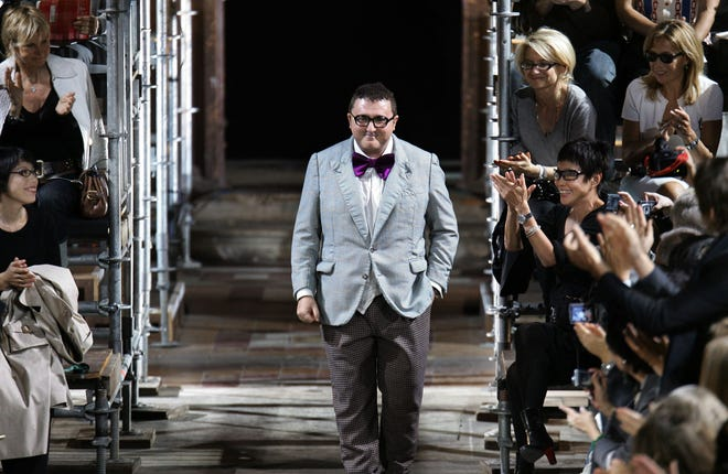 In this file photo taken on October 08, 2006 Casablanca-born designer Alber Elbaz for Lanvin acknowledges the public at the end of his Spring/Summer 2007 ready-to-wear collection show in Paris.