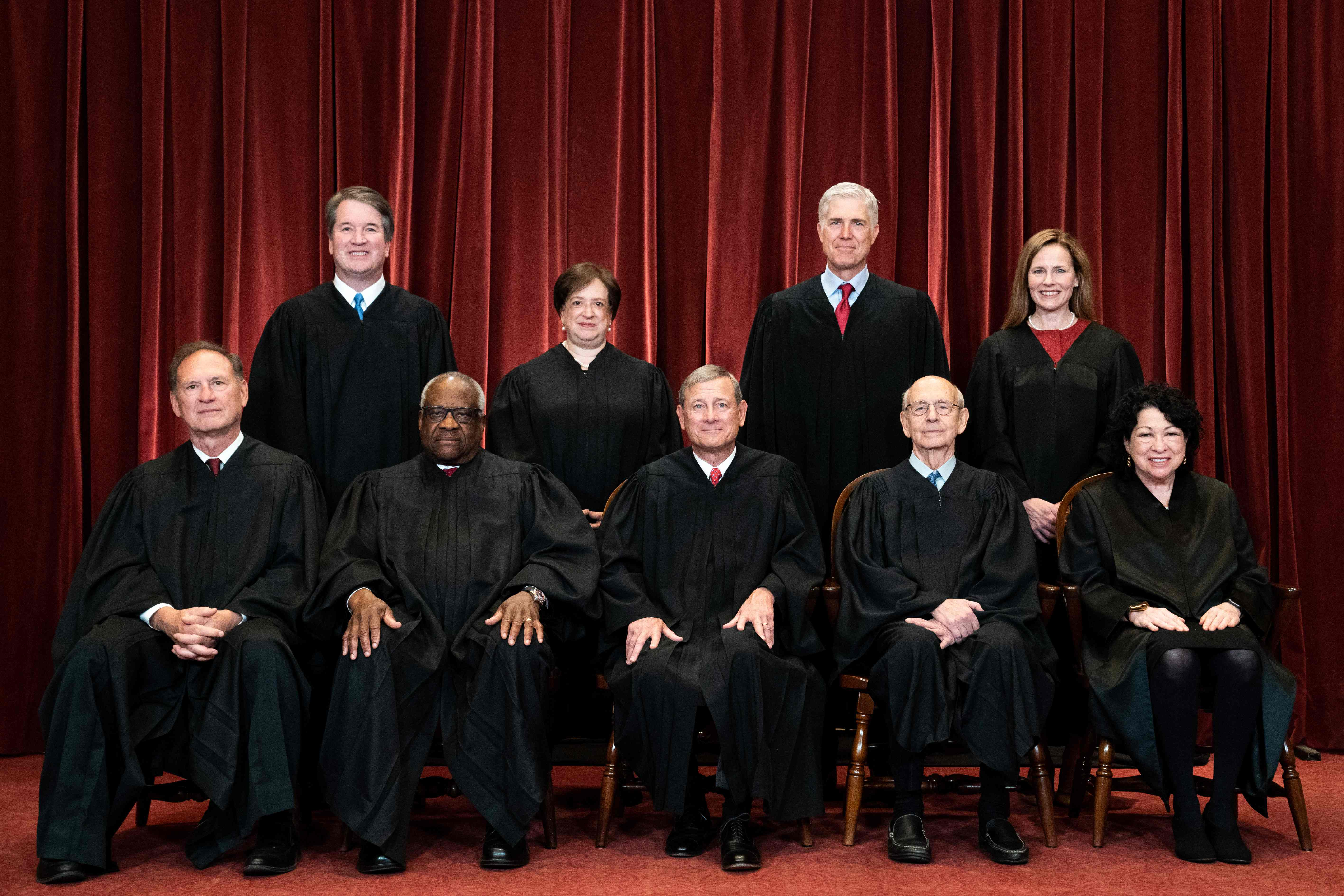 On April 23, 2021, on the Supreme Court from left: Justice Samuel Alito, Justice Brett Kavanaugh, Justice Clarence Thomas, Justice Elena Kagan, Chief Justice John Roberts, Justice Neil Gorsuch, Justice Stephen Breyer, Justice Amy Coney Barrett and Justice Sonia Sotomayor.