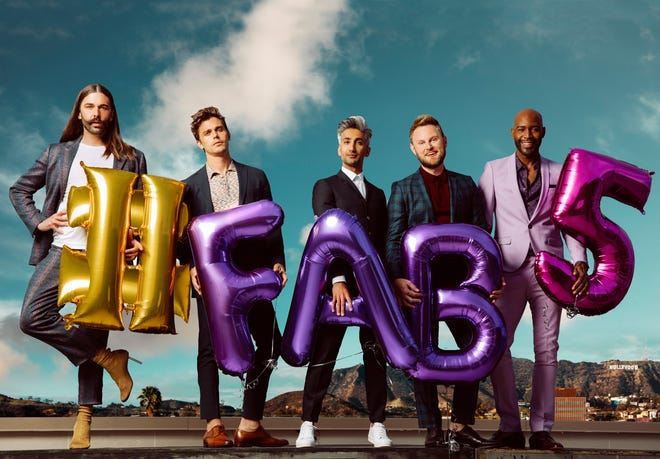 "Jonathan Van Ness, from left, Antoni Porowski, Tan France, Bobby Berk, and Karamo Brown star in ""Queer Eye."""