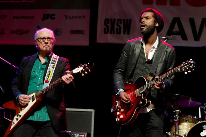 Denny Freeman onstage with Gary Clark Jr. at the Austin Music Awards ceremony in 2013.