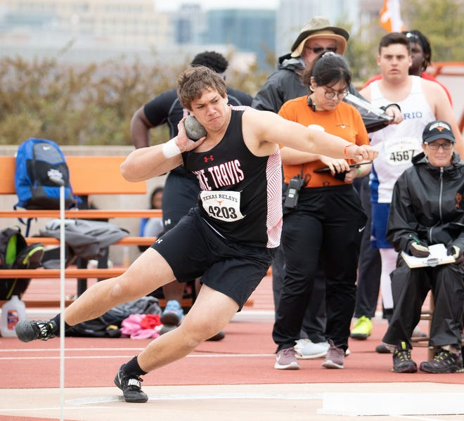 Lake Travis senior Jacob Tracy will compete in the Class 6A state track and field meet in both the discus and shot put May 8 at Myers Stadium in Austin. Tracy finished sixth in state in both events as a sophomore in 2019 and didn't get an opportunity as a junior after the coronavirus pandemic canceled all postseason meets a year ago.