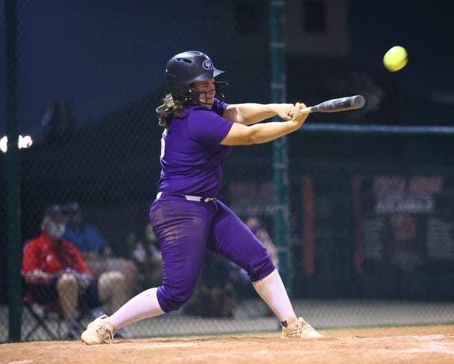 Lily Moron doubles for Cedar Ridge during a game against Vista Ridge earlier in the season. Moron drove in three runs with two hits last week to help the Raiders secure their sixth consecutive district title.