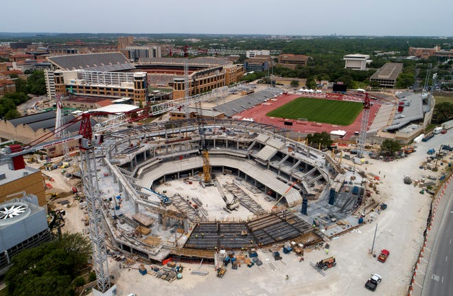 Construction continues Monday on the Moody Center on the University of Texas campus. Once built, the new arena will replace the Erwin Center as the home to UT basketball and other university events. And it will be a 15,000-seat music venue expected to host 150 concerts a year.