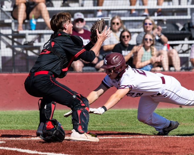 Round Rock's Austin Munguia tries to touch home plate as Vista Ridge catcher Jake Wagoner waits for the throw. With a triple and three RBIs, Munguia tried for an inside-the-park grand slam but was thrown out at home. Round Rock won a District 25-6A baseball game at home over the Rangers 12-7 on Saturday.