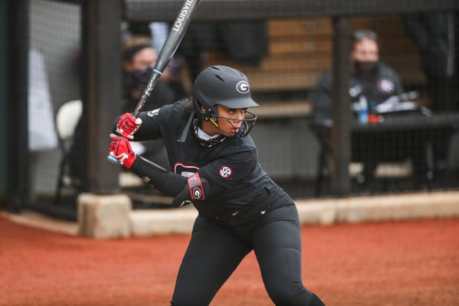 Georgia outfielder Jaiden Fields (3) during a game against South Alabama at Jack Turner Softball Stadium in Athens, Ga., on Feb. 12, 2021. (Photo by Tony Walsh)