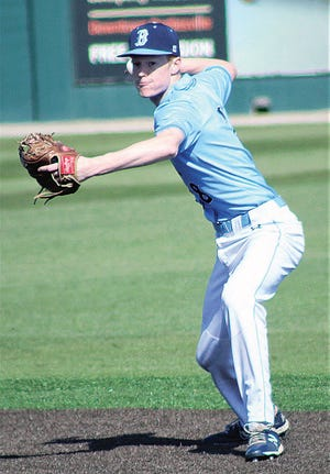 Bartlesville High's Eric Olenberger prepares to fire the ball. (Mike Tupa/Examiner-Enterprise)