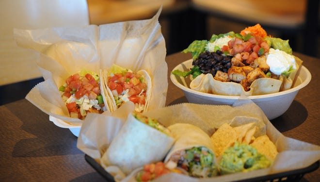 Fish tacos, tostada salad with chicken and black beans, and the Burrito Max burrito are just a few of the meals available at Burrito Bistro in Hyannis and Mashpee.