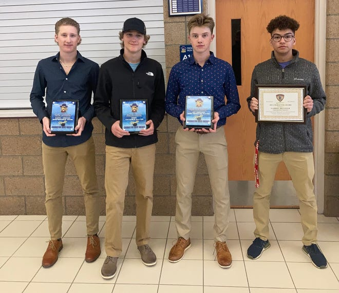 The Pirates' award winners. From left to right: Gavin Anderson, Carter Nelson, Kaleb Thingelstad and Gabe Montieth.