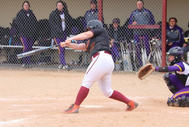 Cassie Querry in a game against Minnesota State on April 25. Querry helped lead the UMC softball team to an 11-2 win over the University of Mary in the second game of Saturday's doubleheader.