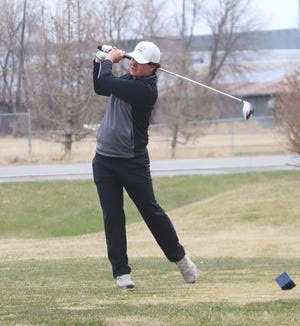 Blaine Andringa watches his drive at the Pirate Invitational at Minakwa Golf Course on April 26. Andringa shot an 83 to lead Crookston at the Park Rapids Invitational on Friday.