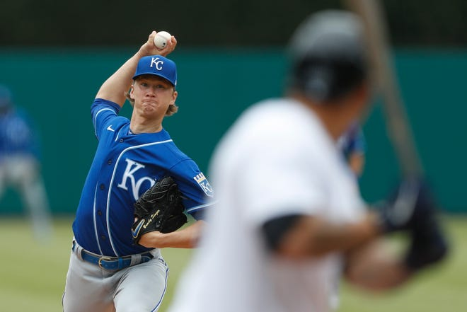 Eustis High School grad Brady Singer pitches for the Kansas City Royals Saturday against Wilson Ramos of the Detroit Tigers. Singer pitched seven strong innings in the Royals' 2-1 win. [RAJ MEHTA / AP]