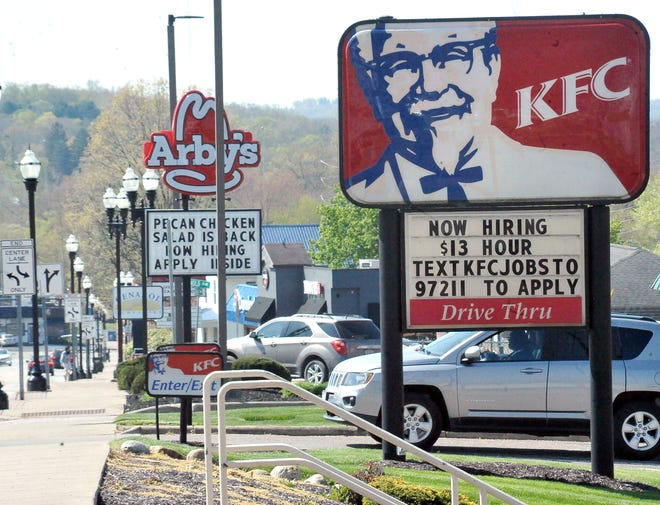 Now hiring signs at fast food places on Beall Avenue.
