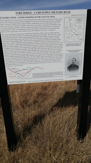 The Fort Dodge-Camp Supply Military Road Storyboard is located about 10 miles south of Dodge City on the corner of Upland Road and Highway 283.
