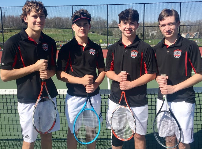 Honesdale's boys varsity tennis team celebrated Senior Day in the best way possible, posting a decisive 4-1 Lackawanna League victory over North Pocono. Pictured here are seniors (from left): Ethan Rickard, Braydon Hanson, John Christiansen, Drew Hazen. Not shown: Gibsen Goodenough.
