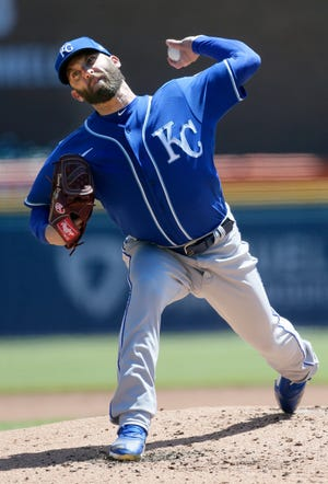 Kansas City Royals' Danny Duffy pitches against the Detroit Tigers during the second inning of Sunday's game in Detroit. The Royals won 4-0 for their fourth straight win.