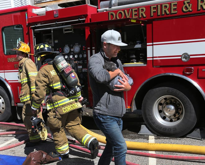 A man holds a cat after a firefighter rescued it from a home on Henry Law Avenue in Dover Monday afternoon.