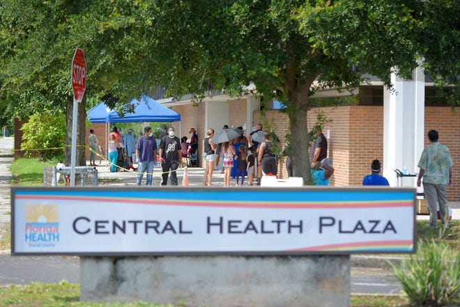 In July 2020, residents lined up to get COVID-19 tests outside the Duval County Health Department's Boulevard Comprehensive Health Center in Jacksonville.