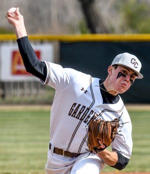 Garden City High School's Kaiden Luna winds up to make a pitch to a Great Bend batter Friday at Clint Lightner Field.