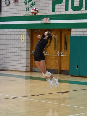 Senior Maggi Weller ended her senior season of Geneseo volleyball with a series of successful serves in the Leafs match against Alleman.