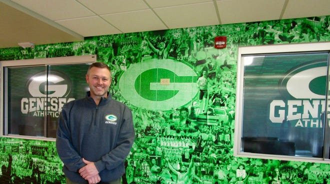Geneseo High School Athletic Director Joe Nichols designed the Wall of Geneseo Athletics through the Years which is located just inside the main entrance to GHS