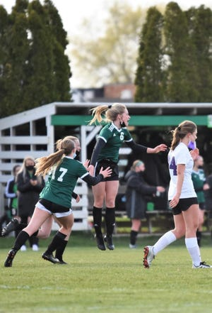 Senior Taylor DeSplinter scored the game-winning goal with just over a minute left in the Geneseo Girls' Soccer opening season game against Dixon.
