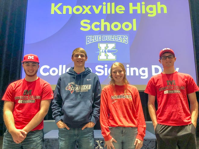 Knoxville High School seniors (l to r) Riley Jennings, Jason Hise, Jordan Moore and Dawson Hensley will continue their athletic careers.