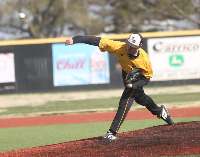 Hunter Parker brings a pitch to the plate on Saturday against Washburn.