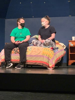Nathaniel Schmucker, left, and Jaxie Gerk rehearseI and Youby Lauren Gunderson, the spring play atBethelCollege April 29-May 1.