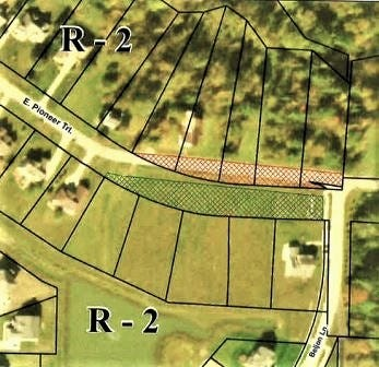 The red shaded area on this map shows the stretch along East Pioneer Trail where the planning commission is studying a plat correction for 10 lots at the Preserves at Beljon Farm. Beljon Lane is at right.