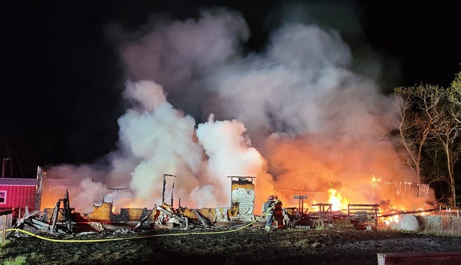 Mid-County Fire Protection District responded to a largefire in the woods Sunday night in Montreal, which engulfed a double-wide modular home and resulted in no injuries.