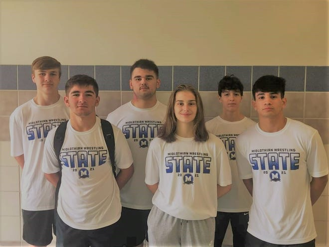 Midlothian High School state wrestling championship participants are (from left) Karson Tompkins, Tylor Knighton, Marshall Hodges, Madeline Hodges, Eli Biermann and Felix Saunders.