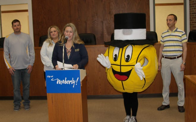 During a Friday morning press announcement held at Moberly City Hall, Moberly Area Chamber of Commerce Executive Director Megan Schmitt talks about the addition of a Gus Macker 3-On-3 Basketball Tournament coming to town and become one of four significant weekend events taking place here Sept. 24-25. Also shown is Jamie Shirk with the Randolph County Area YMCA, Gus Macker's local event chairperson Karie Flood, and Moberly Parks and Recreation Department Director Troy Bock (right).
