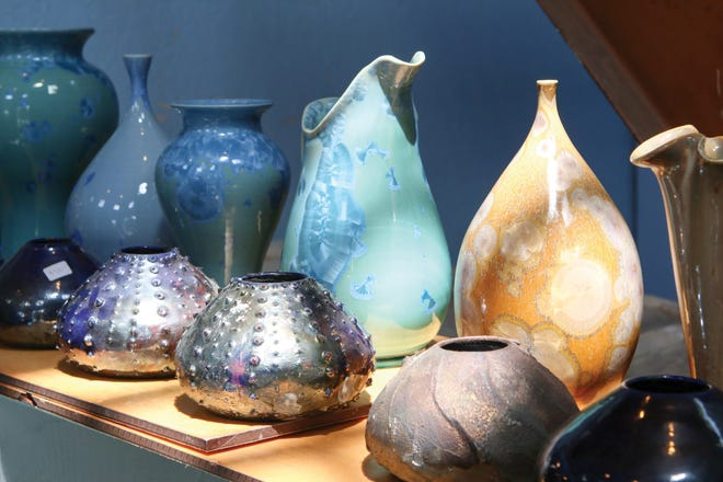 July 17 & 18, August 21 & 22 — South Coast Artists' Open Studios Tour. Pictured here: pottery on display in Lindsey Epstein's studio.