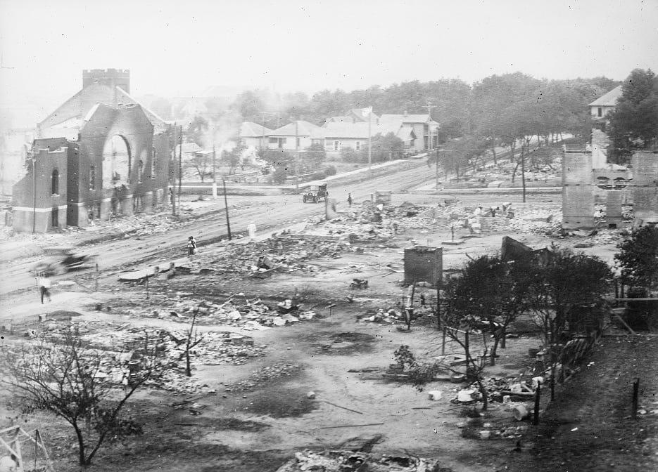 The aftermath of the 1921 Tulsa Race Massacre.