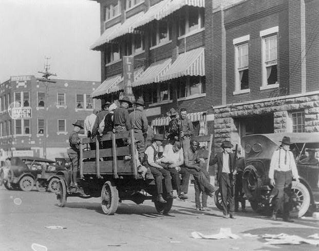 Black war veterans and other Greenwood residents were abducted by white mobs and detained during the 1921 massacre.
