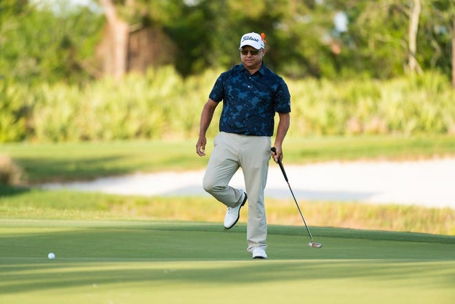 Omar Uresti reacts to his putt on the 18th hole of the Wanamaker Course during the second round of the 54th PGA Professional Championship Monday at PGA Golf Club.